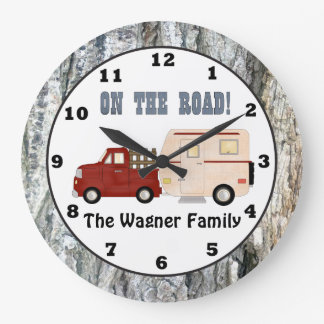 Add name Camping camper wall clock
