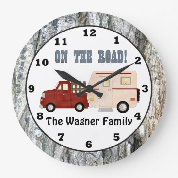 doodlesgifts Add name Camping camper wall clock