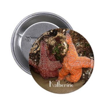 Beach Themed Add Name: Colorful Starfish/Sea Star Photo 3 Pinback Button
