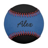 Add Name Custom Black and Blue Baseball