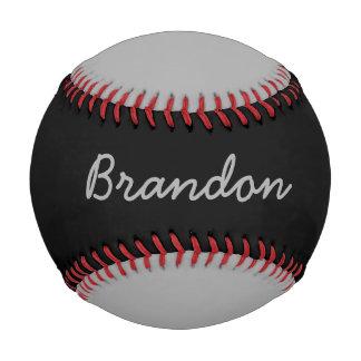Add Name Custom Gray and Black Baseball