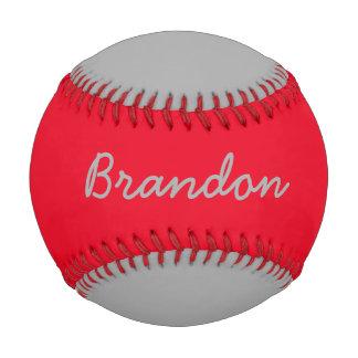 Add Name Custom Gray and Red Baseball