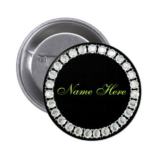 Add name-customizable diamond 2 inch round button