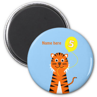 Add name cute 5th birthday tiger magnet