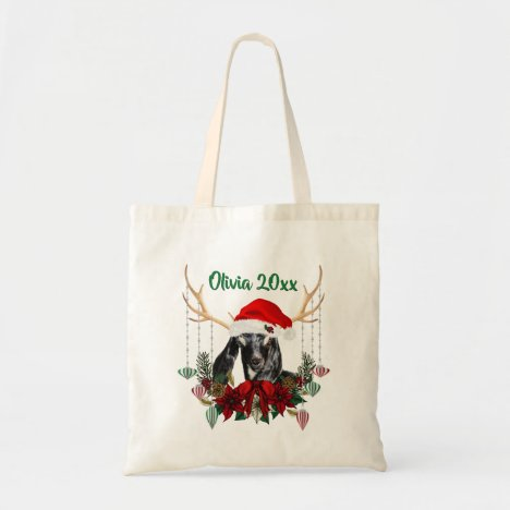 ADD NAME - Cute Christmas Nubian Baby Goat Kid Tote Bag