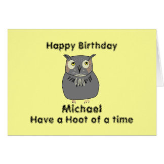Add Name front Hooty Owl Birthday Card