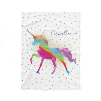 Add Name - Gold Glitter Rainbow Unicorn Fleece Blanket