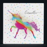 """Add Name - Gold Glitter Rainbow Unicorn Invitation Binder<br><div class=""""desc"""">A rainbow unicorn in a sky of polka dots and glitter . . . the perfect gift for a special girl who believes in magic and unicorns.</div>"""