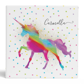 Add Name - Gold Glitter Rainbow Unicorn Invitation Binder