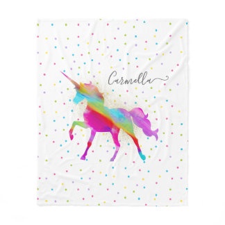 Add Name Gold Glitter Rainbow Unicorn Medium/Large Fleece Blanket