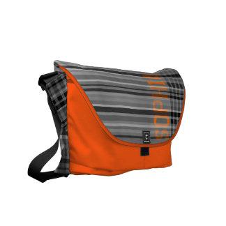 Add Name Gray Orange Stripe Messenger Bag