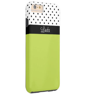 Add Name Green, Black White Polka Dots iPhone 6/6s Tough iPhone 6 Plus Case