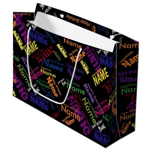 Add Name, Happy Birthday Large Gift Bag
