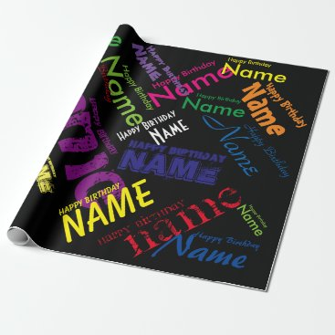"birthday Add Name Happy Birthday Wrapping Paper 30"" x 6'"
