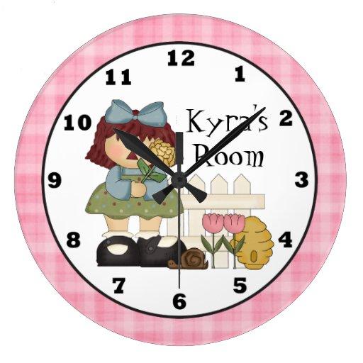 Add name kids room wall clock zazzle for Kids room clock
