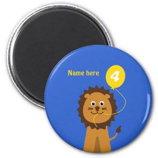 Add name lion 4th birthday blue magnet