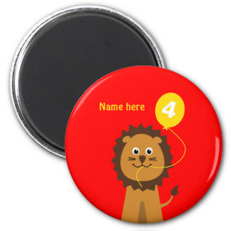 Add name lion 4th birthday red magnet