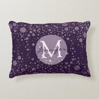 Add Name | Monogram | Purple Bubbles Accent Pillow