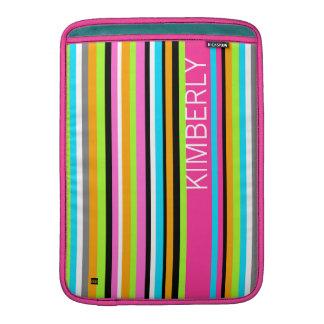 Add Name Multicolor Stripe MacBook Air Sleeve