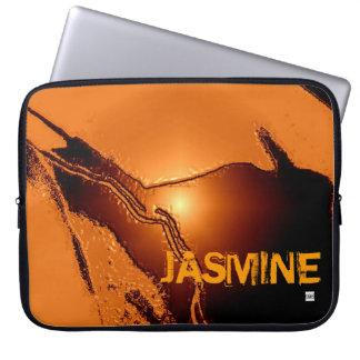 Add Name Orange Latex Emboss Laptop Zip Sleeve