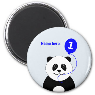 Add name panda 1st birthday blue magnet