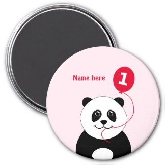 Add name panda 1st birthday red pink magnet