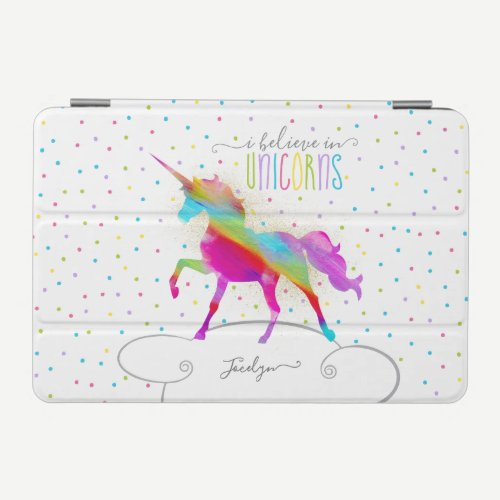 Add Name Personalized Gold Glitter Rainbow Unicorn iPad Mini Cover
