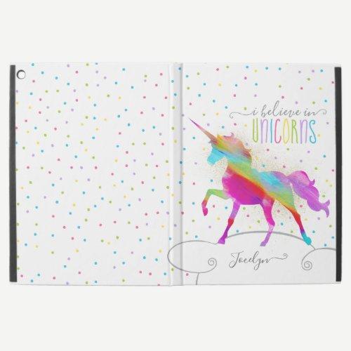 "Add Name Personalized Gold Glitter Rainbow Unicorn iPad Pro 12.9"" Case"