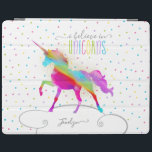 "Add Name Personalized Gold Glitter Rainbow Unicorn iPad Smart Cover<br><div class=""desc"">A rainbow unicorn in a sky of polka dots and glitter . . . the perfect gift for a special girl who believes in magic and unicorns.</div>"