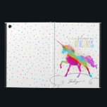 "Add Name Personalized Rainbow Unicorn Gold Glitter Case For iPad Air<br><div class=""desc"">A rainbow unicorn in a sky of polka dots and glitter . . . the perfect gift for a special girl who believes in magic and unicorns.</div>"