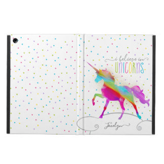 Add Name Personalized Rainbow Unicorn Gold Glitter Case For iPad Air