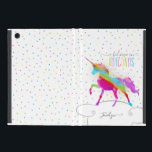 "Add Name Personalized Rainbow Unicorn Gold Glitter iPad Mini Cover<br><div class=""desc"">A rainbow unicorn in a sky of polka dots and glitter . . . the perfect gift for a special girl who believes in magic and unicorns.</div>"