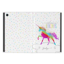 Add Name Personalized Rainbow Unicorn Gold Glitter iPad Mini Cover