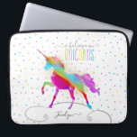 "Add Name Personalized Rainbow Unicorn Gold Glitter Laptop Sleeve<br><div class=""desc"">A rainbow unicorn in a sky of polka dots and glitter . . . the perfect gift for a special girl who believes in magic and unicorns.</div>"