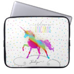 Add Name Personalized Rainbow Unicorn Gold Glitter Laptop Sleeve<br><div class='desc'>A rainbow unicorn in a sky of polka dots and glitter . . . the perfect gift for a special girl who believes in magic and unicorns.</div>