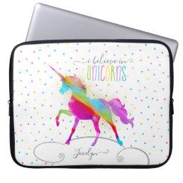Add Name Personalized Rainbow Unicorn Gold Glitter Laptop Sleeve
