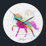 "Add Name Personalized Rainbow Unicorn Gold Glitter Large Clock<br><div class=""desc"">A rainbow unicorn in a sky of polka dots and glitter . . . the perfect gift for a special girl who believes in magic and unicorns.</div>"