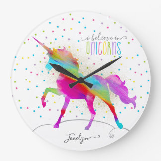 Add Name Personalized Rainbow Unicorn Gold Glitter Large Clock