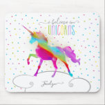 """Add Name Personalized Rainbow Unicorn Gold Glitter Mouse Pad<br><div class=""""desc"""">A rainbow unicorn in a sky of polka dots and glitter . . . the perfect gift for a special girl who believes in magic and unicorns.</div>"""