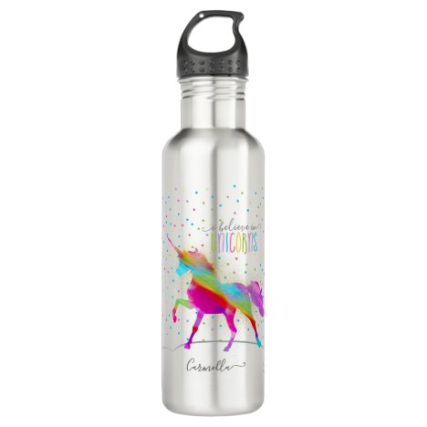 Add Name Personalized Rainbow Unicorn Gold Glitter Stainless Steel Water Bottle