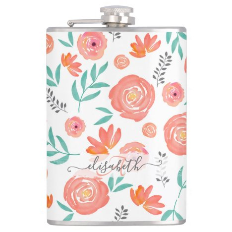 Add Name + Pink Coral Watercolor Floral Pattern Flask