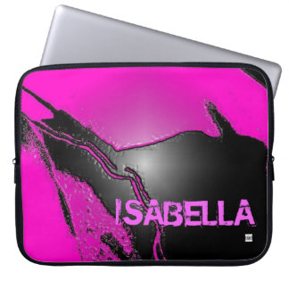 Add Name Pink Latex Emboss Laptop Zip Sleeve