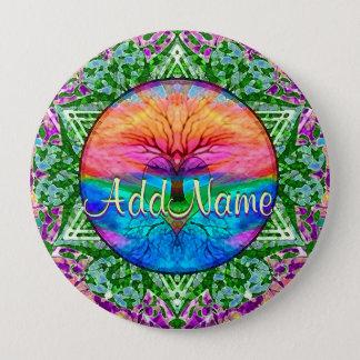Add Name | Rainbow Heart Tree Pinback Button