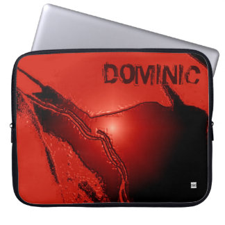 Add Name Red Latex Emboss Laptop Zip Sleeve