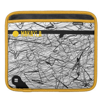 Add Name Scratch Abstract Black Yellow Ipad Sleeve