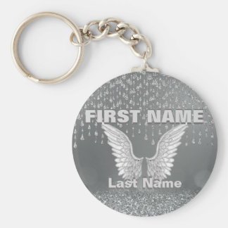 Add Name | Silver Tears Basic Round Button Keychain