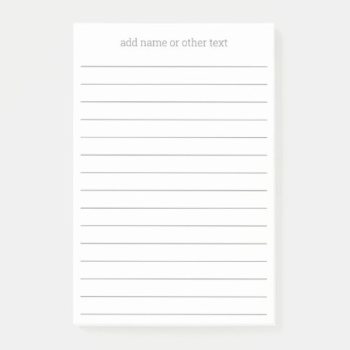 Add Name - Simple Serif Font with lines - gray Post-it Notes