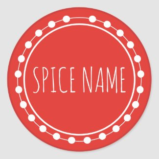Add Name Spice Jar Label Red