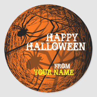 Add Name Spider Web Halloween Sticker Orange