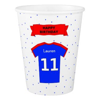 Add name sports party 11th birthday paper cup